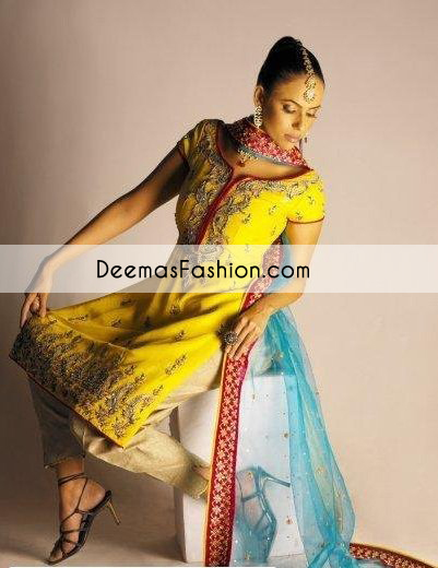 Yellow Ferozi Mehndi Wear Shirt Trouser