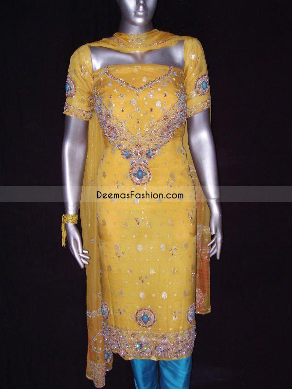 Shalwar Kameez Yellow Ferozi Embroidered Dress