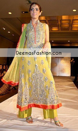 Yellow Heavy Formal Bridal Mehndi Wear Dress