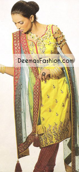 Yellow Maroon Bridal Mehndi Wear Kameez Churidar