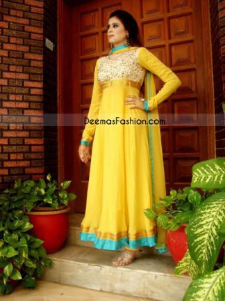 Yellow Pure Chiffon Anarkali Fashion Dress