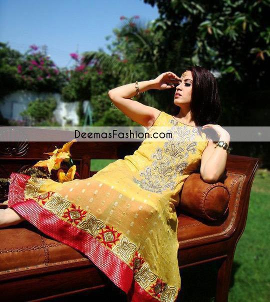 Yellow Shocking Pink Aline Anarkali Frock Churidar